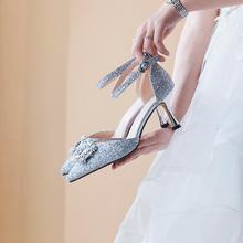817 新款银色绑带夏一字扣新娘鞋 5.5厘米  7.5厘米