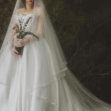 亲爱的白原创正品《云苓》复古森系结婚张馨予缎面包边女新娘头纱