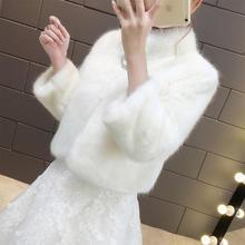 仿水貂毛皮草!旗袍礼服冬加厚保暖披肩冬季2018新款