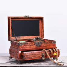 大红酸枝首饰盒木质实木红木高档结婚首饰收纳盒珠宝箱复古带镜子