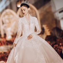 婚纱女2018新款新娘抖音网红法式宫廷复古拖尾公主冬季主婚纱