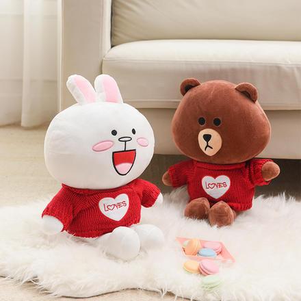 【一對】可愛兔子小熊娃娃