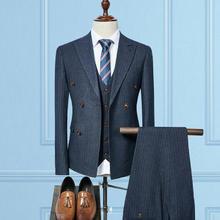 【送衬衫领带领结】英伦双排扣三件套新郎西装