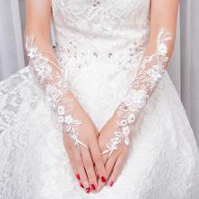 狂奔蜗牛婚纱长款白色蕾丝花朵勾指新娘结婚新款长手套