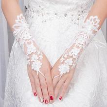 狂奔蜗牛婚纱新款长手套蕾丝花朵钉珠漏指手套新娘婚纱礼服用