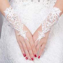 狂奔蜗牛婚纱短款蕾丝钉钻手套新款婚纱礼服新娘结婚短款手套