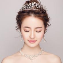 新娘头饰2018新款皇冠韩式三件套装婚纱礼服结婚礼盘发配饰