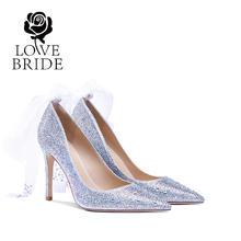 8厘米 32-42大小码新娘鞋银色水晶全钻婚鞋西式结婚鞋