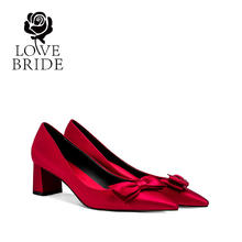 5厘米 舒适粗跟孕妇大小码新娘鞋红色婚鞋中跟结婚鞋女