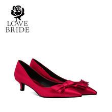 4厘米 蝴蝶结新娘鞋大小码红色婚鞋中跟结婚鞋女