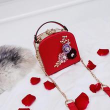 红色小包包女2018新款韩版婚礼包包时尚结婚手提包时尚新娘包