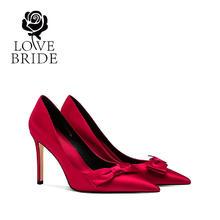 9.5厘米 新娘鞋32小码33红色婚鞋高跟单鞋女