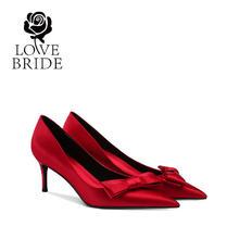 6.5厘米 32-41大小码新娘鞋红色高跟婚鞋结婚鞋女