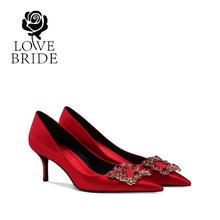6.5厘米 新娘鞋32小码33红色婚鞋水钻结婚鞋