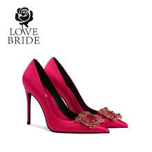 10厘米 新娘鞋32-42大小码红色婚鞋水钻单鞋女
