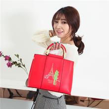 红色印花大包包2018新款新娘手提包可爱婚礼包包伴娘包斜挎包
