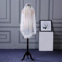 狂奔蜗牛婚纱新娘结婚头纱1.5米宽白色蕾丝花朵大头纱婚纱用