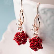 新娘耳环红色日韩水钻耳针式耳钉耳坠结婚耳针礼服配饰饰品
