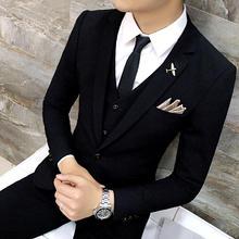 帅气男士西服套装修身韩版正装职业小西装新郎结婚礼服西装三件套