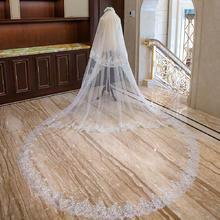 狂奔蜗牛白色头纱3米宽4米长蕾丝花边头纱新娘结婚三层婚纱配件
