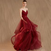 西式红色星空吊带V领婚纱