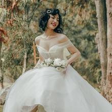 【云舞】可拆卸一字肩拖尾显瘦塑性仙气婚纱