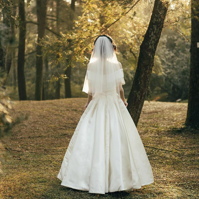 【初心】法式优雅显瘦缎面一字肩婚纱