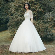 【流光】法式薄纱刺绣显瘦中袖婚纱