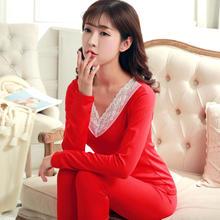 新婚结婚红色保暖内衣女薄款套装加绒性感蕾丝V领打底秋衣秋裤