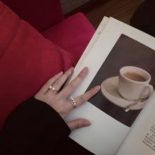 两件套珍珠微镶锆石双层戒指组合套装气质戒指指环#040