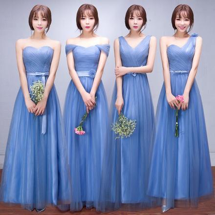 韩式一款两穿蓝色长款伴娘服