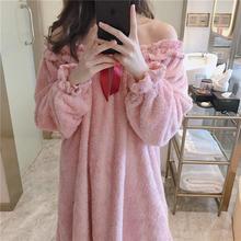 睡裙女冬可爱珊瑚绒加厚睡衣宽松性感公主甜美可爱法兰绒家居服