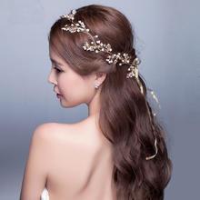 新款手工新娘发带头饰日韩式结婚发饰金色花朵盘发配饰品婚纱发箍
