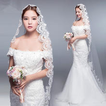 新款长款3米蕾丝花边新娘头纱韩式婚纱拖尾结婚简约配饰