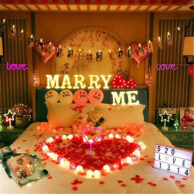 浪漫惊喜的房间布置_家里求婚现场布置图片 简单又浪漫的求婚创意点子【婚礼纪】