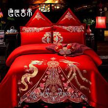 中式纯棉龙凤刺绣床品套装