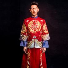 秀禾服男新郎结婚中式礼服龙凤褂秀禾男款中式马褂袍唐装秋