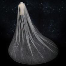 百搭超仙!香槟色头纱女2018新款星空森系长款拖尾婚纱结婚