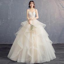 婚纱礼服女2019新款冬新娘结婚抹胸吊带V领蓬蓬裙显瘦齐地秋