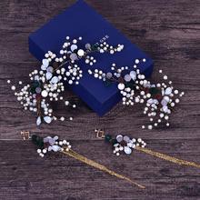 2019新款巴洛克风绒球手工珍珠发箍耳环套装新娘结婚跟妆配饰