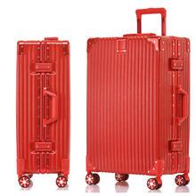 大红色20寸24寸万向轮行李箱铝框拉杆箱女结婚箱子陪嫁箱旅行