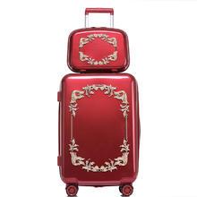 预售款!2月15号发 复古风红色结婚箱子行李箱女陪嫁皮箱新娘