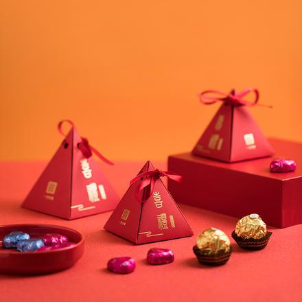 新中式三角形喜礼喜糖盒