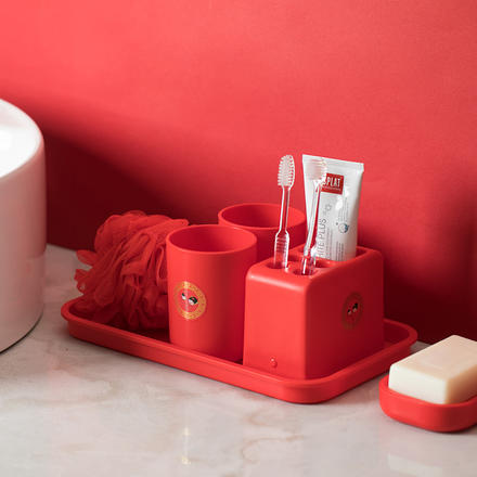 中式喜庆红结婚洗漱套装