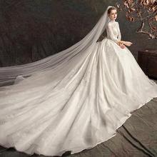 2019新款冬季白色奢华拖尾长袖大码显瘦孕妇女新娘