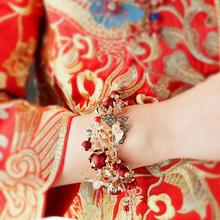 中式新娘手镯结婚女仿真宫廷复古流苏开口镯子秀禾服婚礼配饰