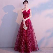 新娘敬酒服2018新款时尚性感显瘦红色长款结婚宴会晚礼服裙女