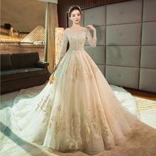 金丝绣花 !法式婚纱礼服女新娘结婚冬季长拖尾v领显瘦赫本
