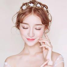 新款仙美韩式新娘头饰发箍复古发带婚纱礼服配饰结婚首饰发饰