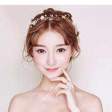 新款新娘发带头饰仙美韩式结婚发饰金色花朵首饰饰品婚纱发箍